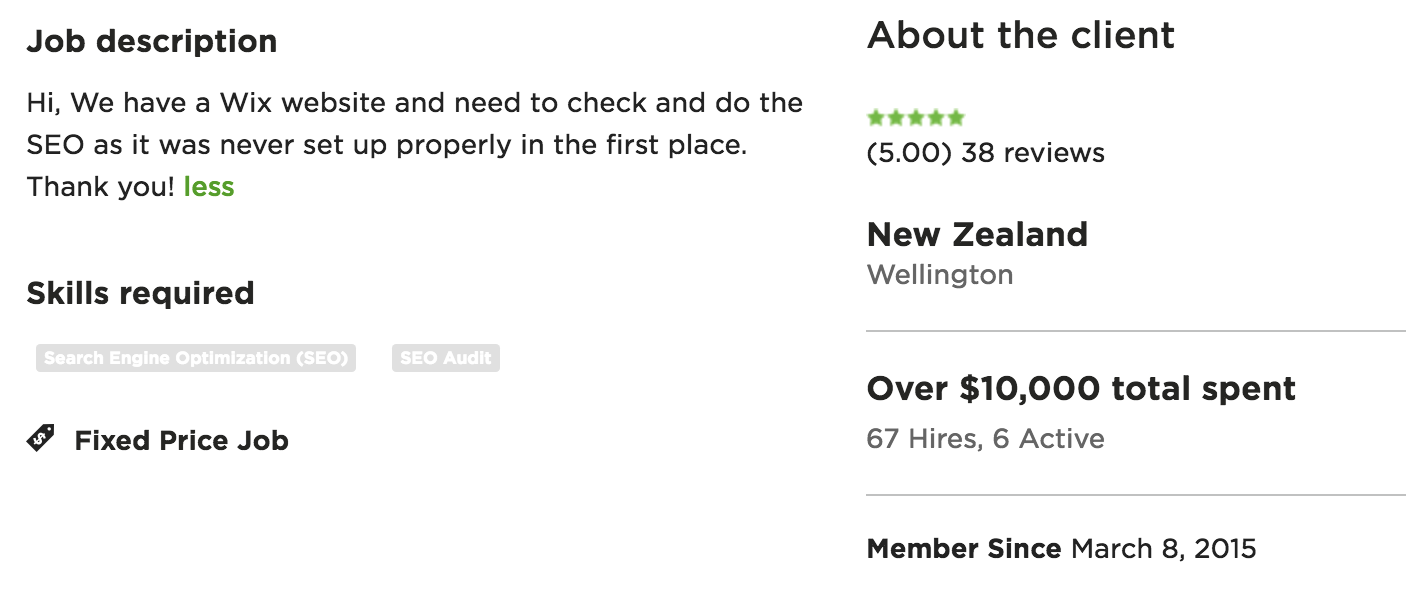 job description in upwork